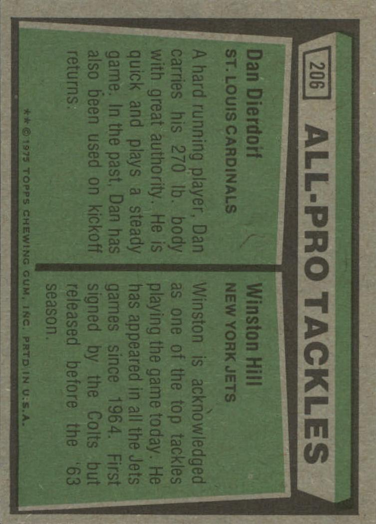 1975 Topps #206 All Pro Tackles/Dan Dierdorf/Winston Hill back image
