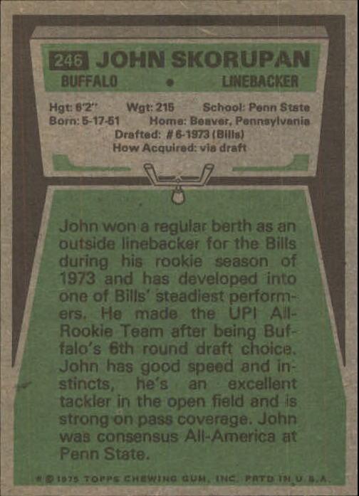 1975 Topps #246 John Skorupan back image
