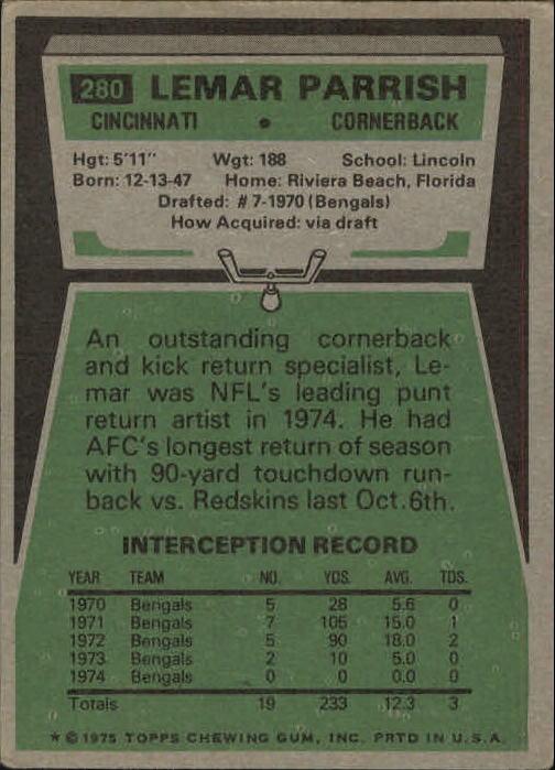 1975 Topps #280 Lemar Parrish back image
