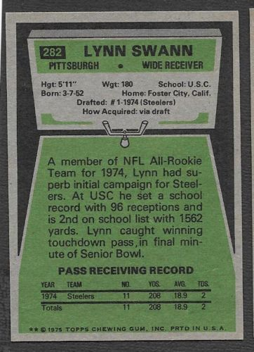 1975 Topps #282 Lynn Swann UER RC/(Wide Reciever on front) back image