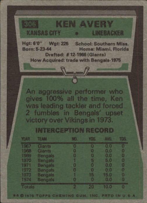 1975 Topps #306 Ken Avery back image