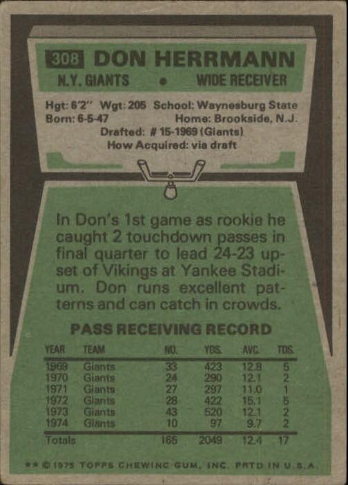 1975 Topps #308 Don Herrmann back image