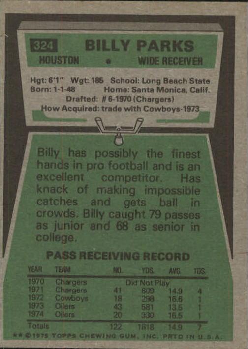 1975 Topps #324 Billy Parks back image