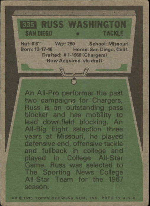 1975 Topps #335 Russ Washington back image