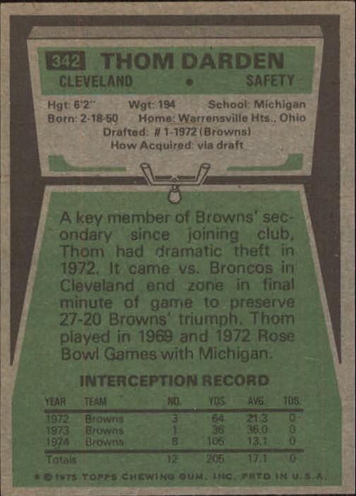 1975 Topps #342 Thom Darden back image
