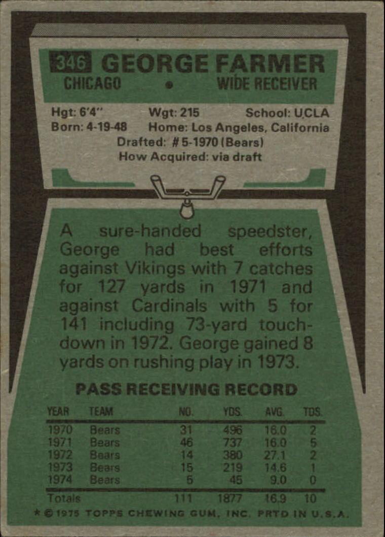 1975 Topps #346 George Farmer back image