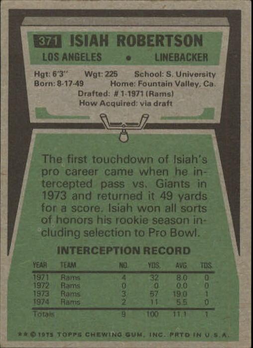 1975 Topps #371 Isiah Robertson back image