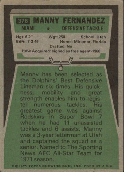 1975 Topps #378 Manny Fernandez back image