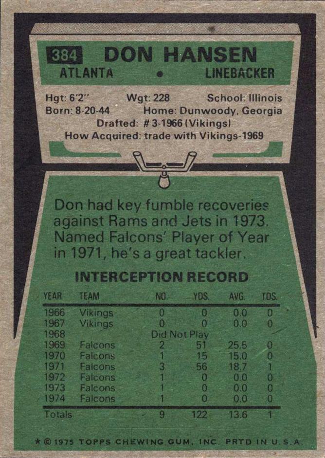1975 Topps #384 Don Hansen back image