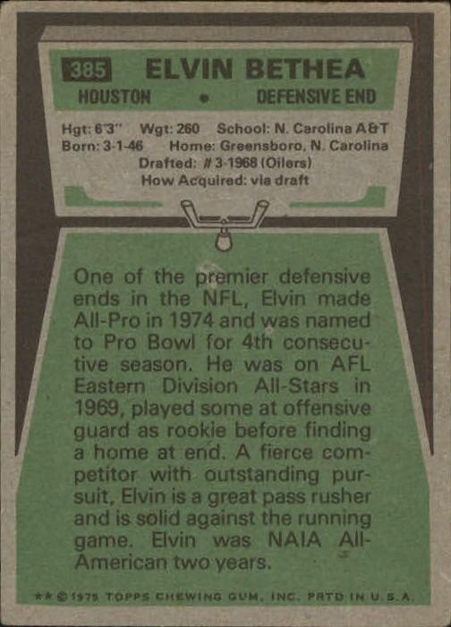 1975 Topps #385 Elvin Bethea back image