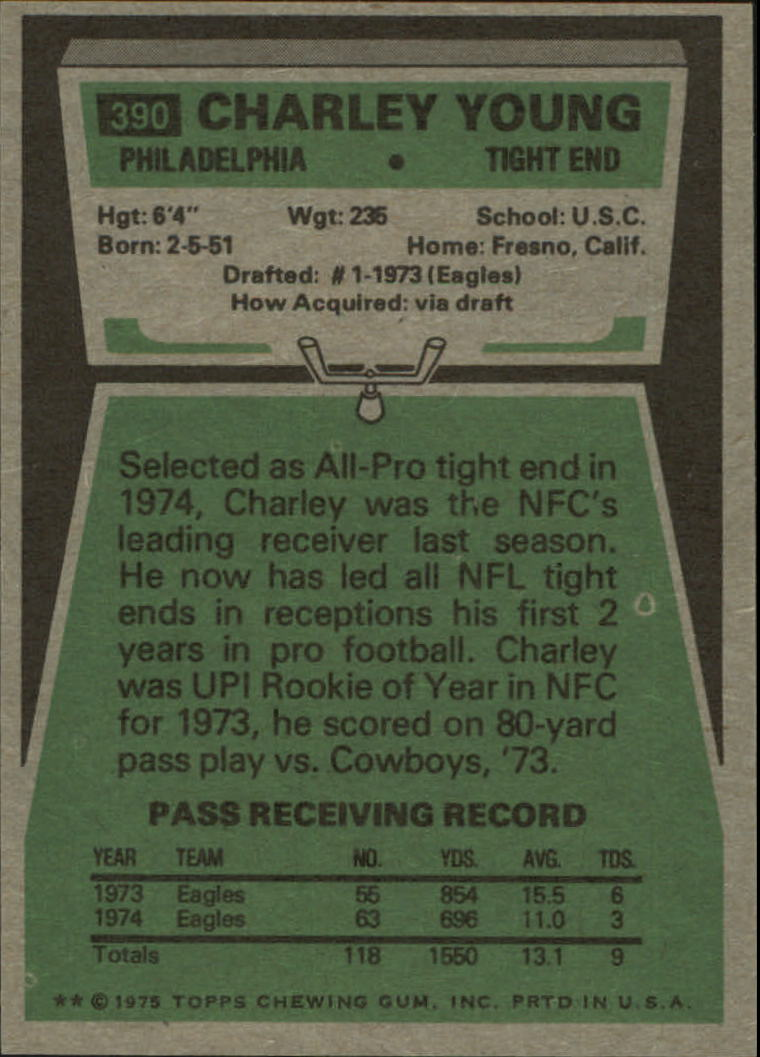 1975 Topps #390 Charle Young back image