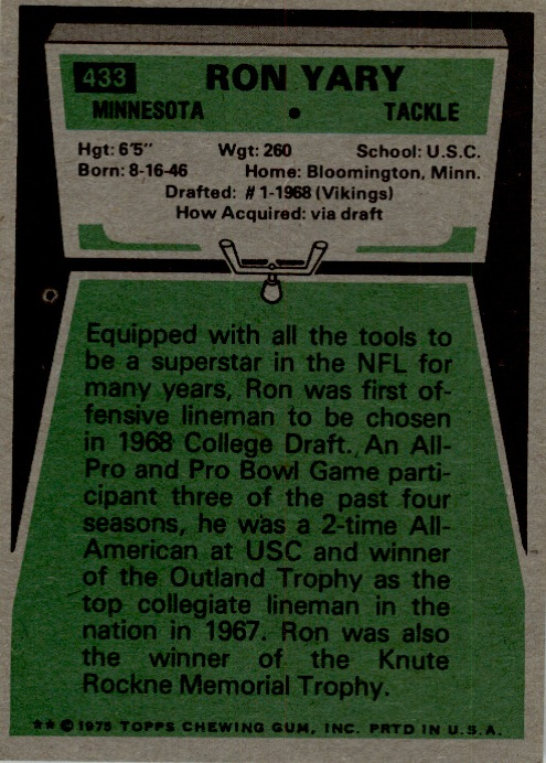 1975 Topps #433 Ron Yary back image