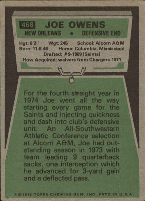 1975 Topps #468 Joe Owens back image