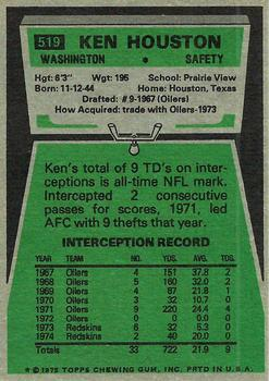 1975 Topps #519 Ken Houston back image
