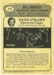1976 Wonder Bread #17 Bill Bergey back image