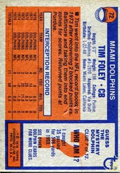 1976 Topps #72 Tim Foley back image