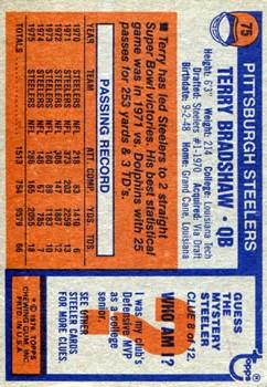 1976 Topps #75 Terry Bradshaw back image