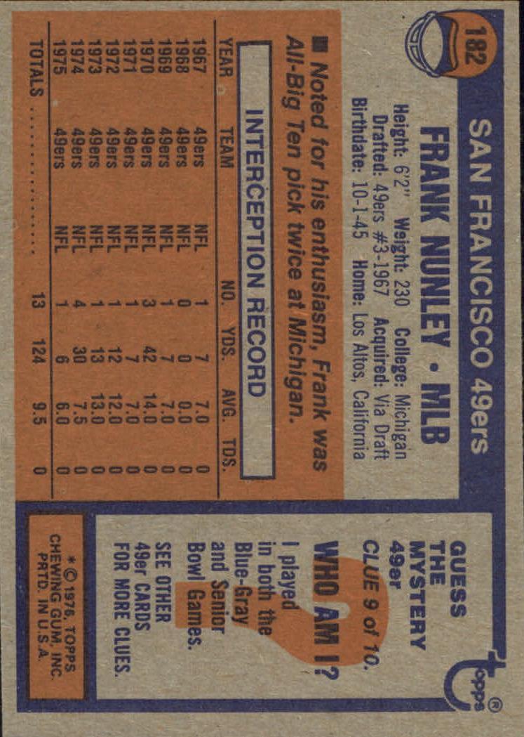 1976 Topps #182 Frank Nunley back image
