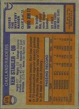 1976 Topps #415 Ken Stabler back image