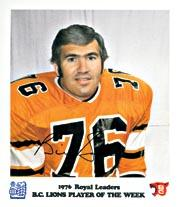 1976 B.C. Lions Royal Bank #2 Bill Baker