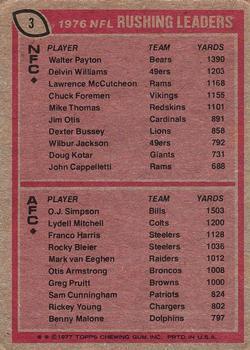 1977 Topps #3 Rushing Leaders/Walter Payton/O.J. Simpson back image