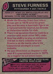 1977 Topps #9 Steve Furness back image