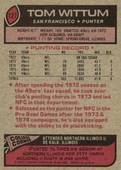1977 Topps #127 Tom Wittum back image