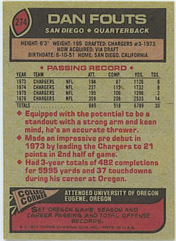 1977 Topps #274 Dan Fouts back image
