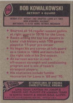 1977 Topps #344 Bob Kowalkowski back image