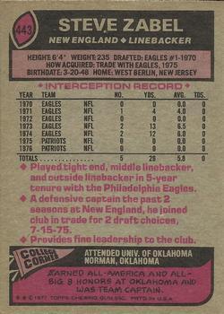 1977 Topps #443 Steve Zabel back image
