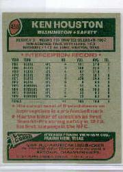 1977 Topps #450 Ken Houston AP back image