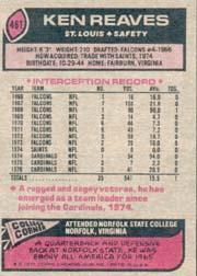 1977 Topps #461 Ken Reaves back image