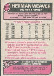 1977 Topps #462 Herman Weaver back image