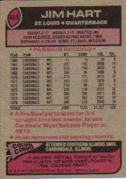 1977 Topps #485 Jim Hart back image