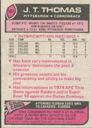 1977 Topps #501 J.T. Thomas back image