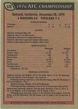 1977 Topps #526 AFC Championship/Raiders 24;/Steelers 7/(Ken Stabler) back image