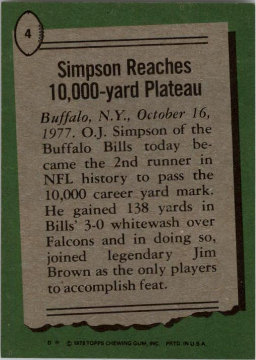 1978 Topps #4 O.J. Simpson HL/Reaches 10,000 Yards back image