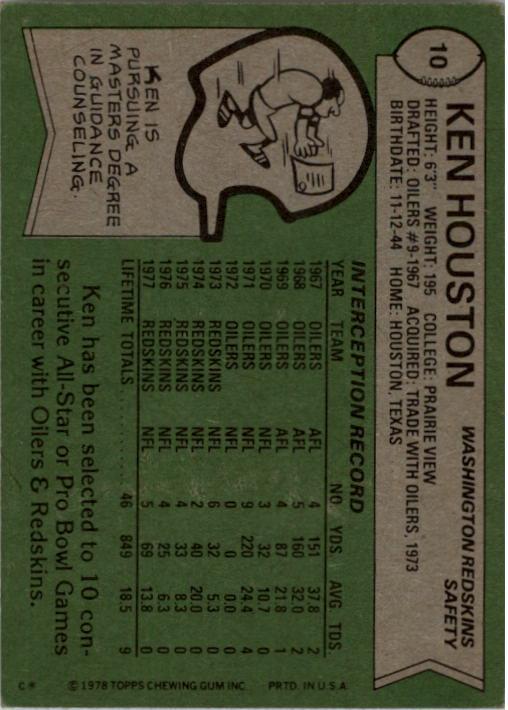1978 Topps #10 Ken Houston AP back image