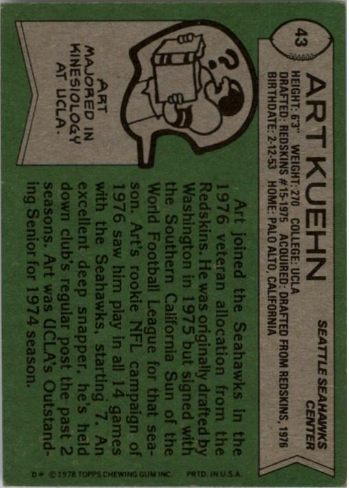 1978 Topps #43 Art Kuehn back image