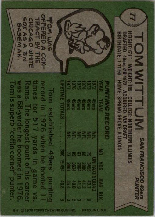 1978 Topps #77 Tom Wittum back image
