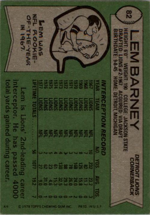 1978 Topps #82 Lem Barney back image