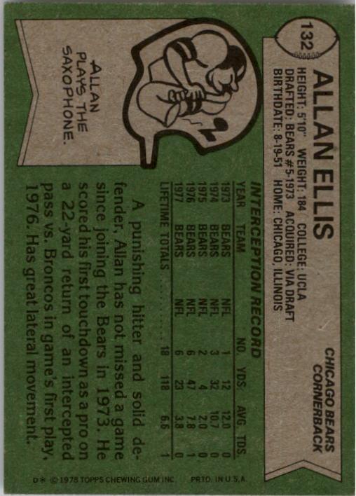 1978 Topps #132 Allan Ellis back image