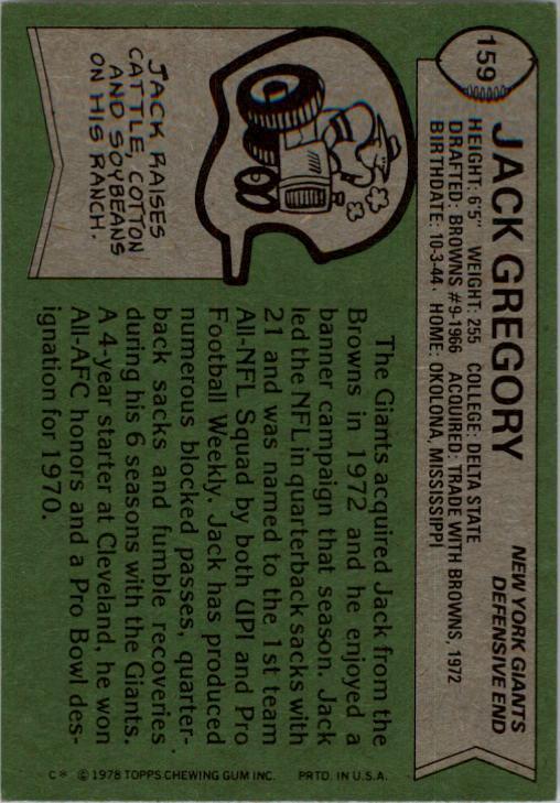 1978 Topps #159 Jack Gregory back image