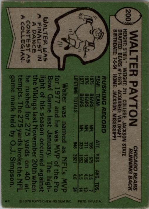1978 Topps #200 Walter Payton AP/UER (Born 7/5/54;/should be 7/25/54) back image