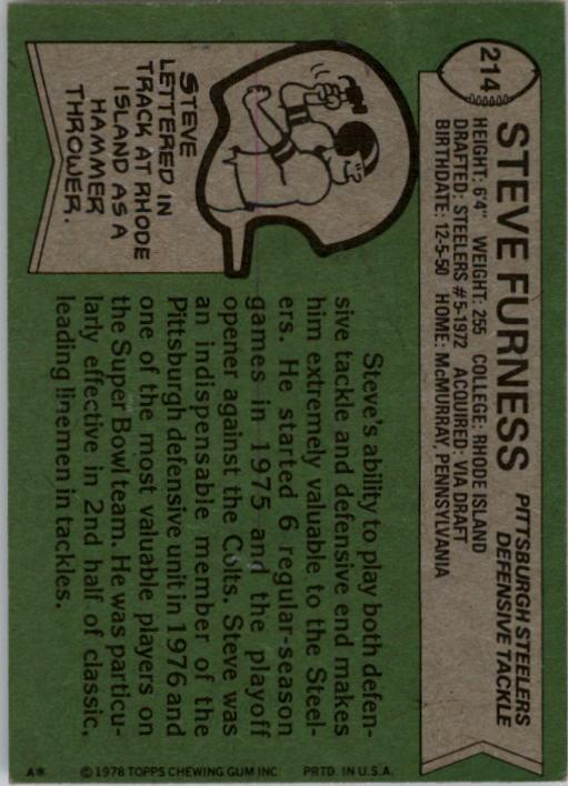 1978 Topps #214 Steve Furness back image