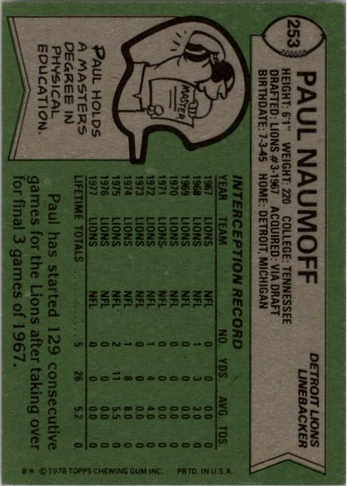 1978 Topps #253 Paul Naumoff back image