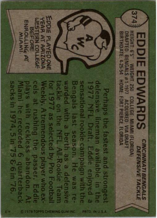 1978 Topps #374 Eddie Edwards RC back image