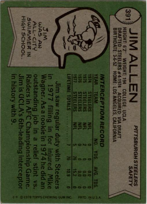 1978 Topps #391 Jim Allen RC back image