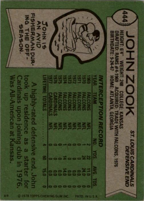 1978 Topps #444 John Zook back image