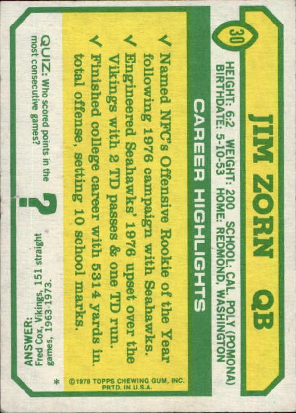 1978 Topps Holsum #30 Jim Zorn back image